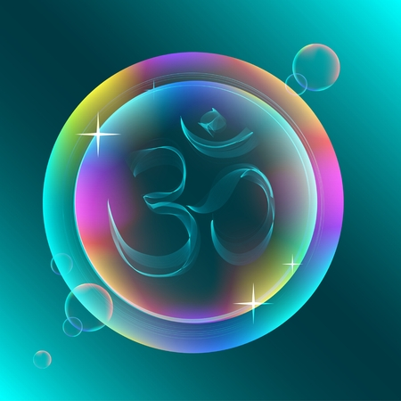 zen aum: Abstract colorful OM sign, beautiful illustration Illustration