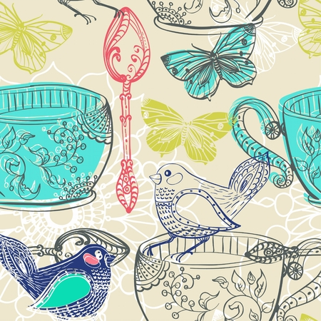 Tea time illustration with flowers and bird, beautiful background for your design, seamless pattern