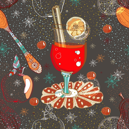 anisetree: Seamless doodle background with mulled warm wine for design, Christmas traditional drink