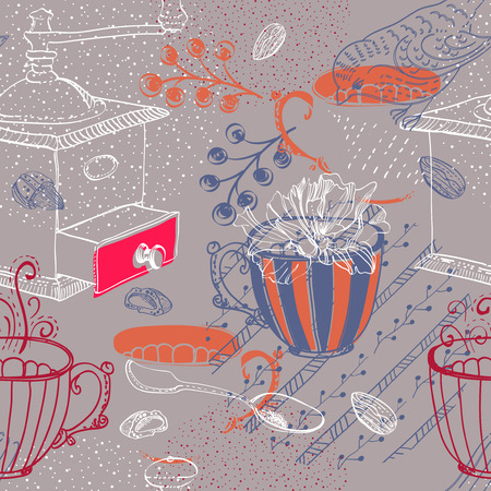 sugar spoon: Doodle background with coffee mill, flowers and birds, color seamless pattern Illustration