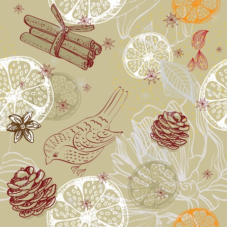 anisetree: Doodle background with citrus, bird and snowflakes, seamless winter pattern Illustration