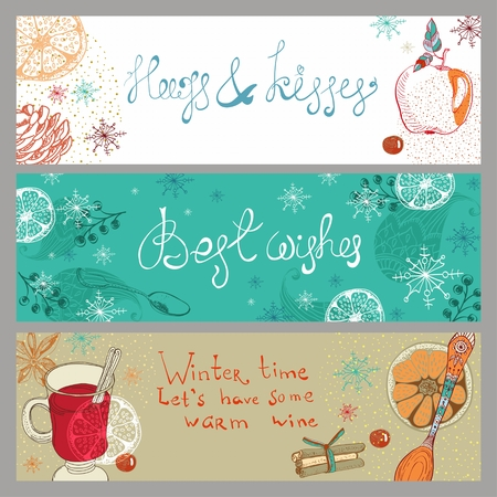 anisetree: Doodle background with mulled warm wine and fruits, Christmas traditional drink, three banners for Holiday design