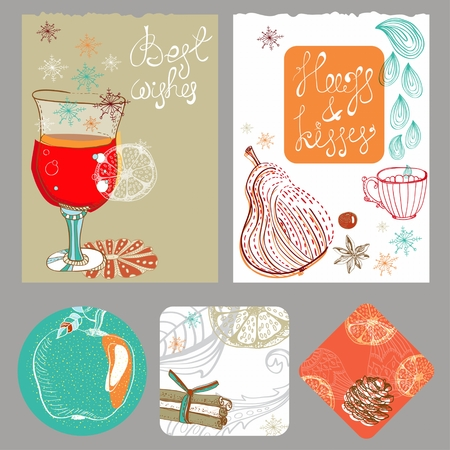 apple cinnamon: Doodle background with mulled warm wine and fruits, Christmas traditional drink, different banners for Holiday design