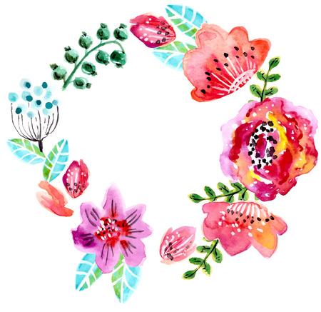 Aquarel bloemen frame voor bruiloft uitnodiging, sparen de datum illustratie