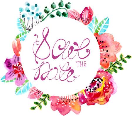 dattes: Aquarelle floral pour invitation de mariage, faites gagner la date illustrations