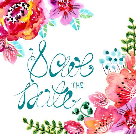 Aquarela moldura floral para convite de casamento, salvar a ilustração de data Foto de archivo - 34141893
