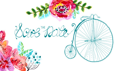 Watercolor floral frame for wedding invitation, save the date illustration with retro bicycle