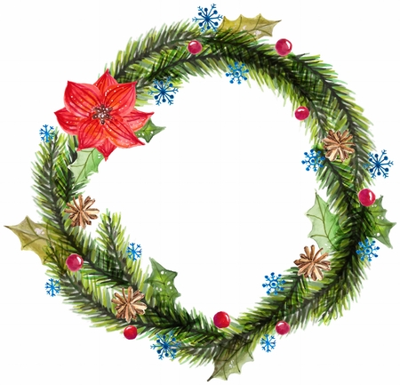 christmas watercolor: Green watercolor christmas wreath with decorations  over white