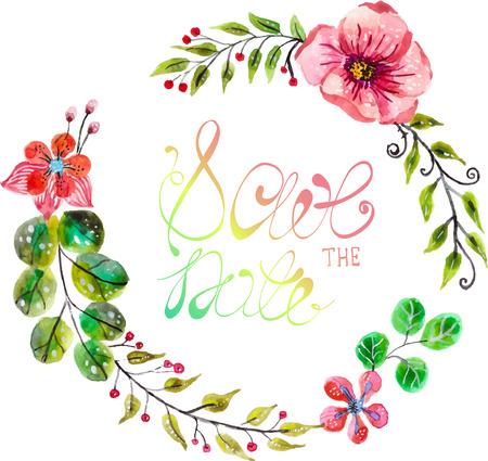 Aquarell Blumen für Hochzeitseinladungsentwurf, datum Darstellung Standard-Bild - 34141922