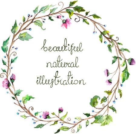 marcos redondos: Marco de la acuarela floral para el diseño de la invitación de la boda, ahorre la fecha ilustración Vectores