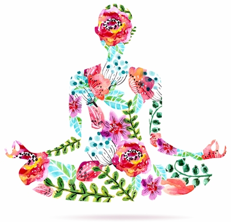 Yoga pose, watercolor bright floral illustration over white background, lotus pose
