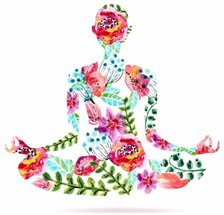 mente: Actitud de la yoga, acuarela ilustraci�n floral brillante sobre fondo blanco, actitud del loto