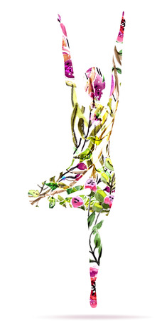Yoga pose, watercolor bright floral illustration over white background