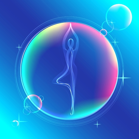 yoga icon: Yoga pose, Abstract color illustration over white background Illustration