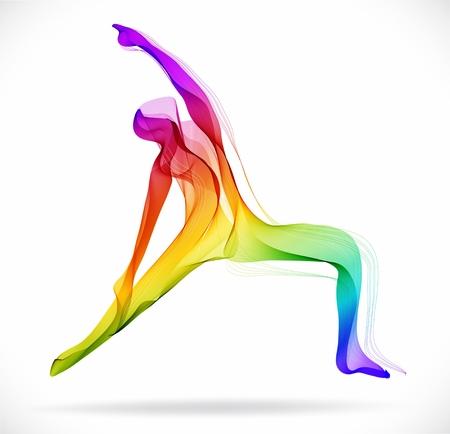 Actitud de la yoga, ilustración abstracta de colores sobre fondo blanco Foto de archivo - 34141939