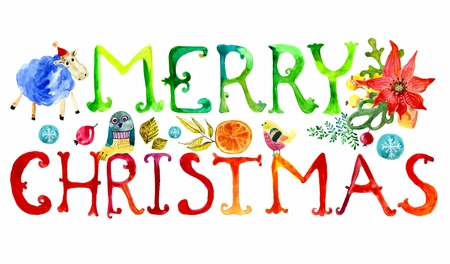 christmas watercolor: Merry Christmas watercolor text with funny elements for holiday design over white
