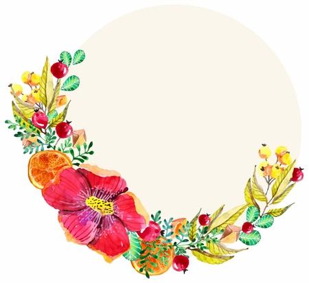 Watercolor floral frame for wedding invitation design or save the date illustration