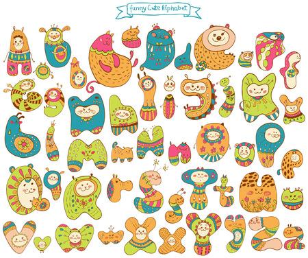 cat alphabet: Funny doodle cartoon alphabet, animal letters