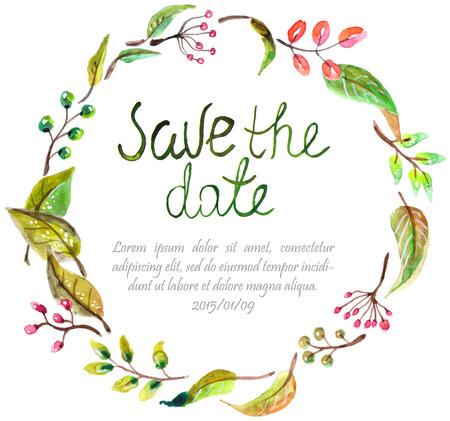marcos redondos: Marco de la acuarela floral, ilustración naturales de colores con texto de la invitación de la boda