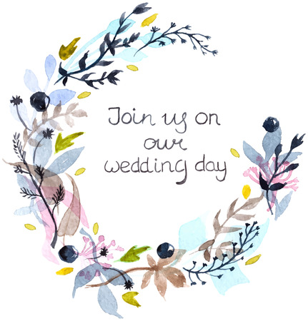 Watercolor floral frame, colorful natural illustration with text for wedding invitation Illustration