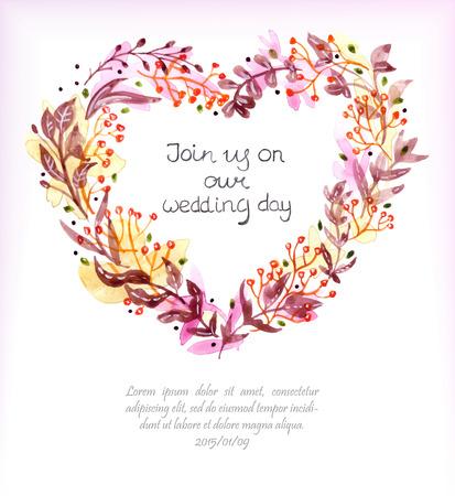Watercolor floral frame for wedding invitation design or save the date illustration, heart shape Vector