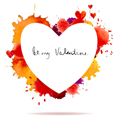 blot: Watercolor colorful blot and heart for holiday design, Valentines day Illustration