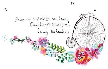 Marco de la acuarela floral para la invitación de boda, ahorre la fecha ilustración con la bicicleta retro, decoraciones día de San Valentín Foto de archivo - 35757762
