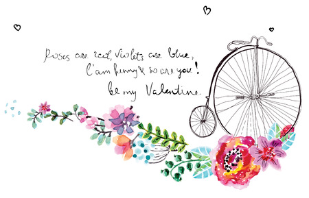 Watercolor floral frame for wedding invitation, save the date illustration with retro bicycle, Valentines day decorations
