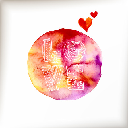 blot: Watercolor colorful blot and heart and text for holiday design