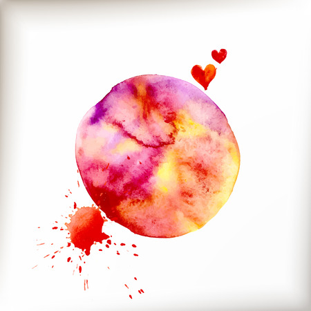 ink spill: Watercolor colorful blot and heart for holiday design