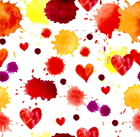 blot: Watercolor colorful blot and heart for holiday design