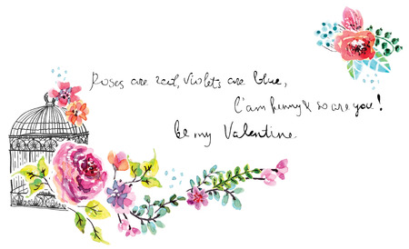 Watercolor floral frame for wedding invitation