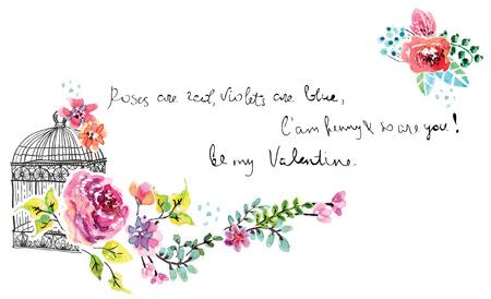 florale: Aquarell Blumen für Hochzeitseinladung Illustration