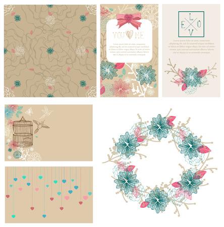 wedding wishes: Floral cards collection for Valentines day design or wedding design Illustration
