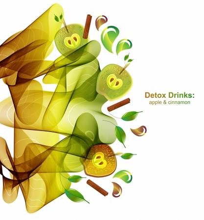 apple cinnamon: Juice splash with abstract wave, apple and cinnamon. Detox healthy drink, beautiful vector illustration