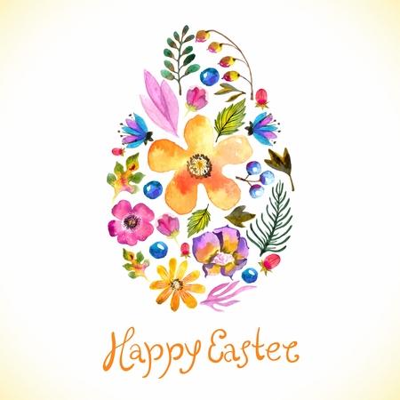 Aquarell Vorlage für Grußkarte oder Einladung für fröhliche Ostern mit Blumen und handgefertigte Text Standard-Bild - 36832005