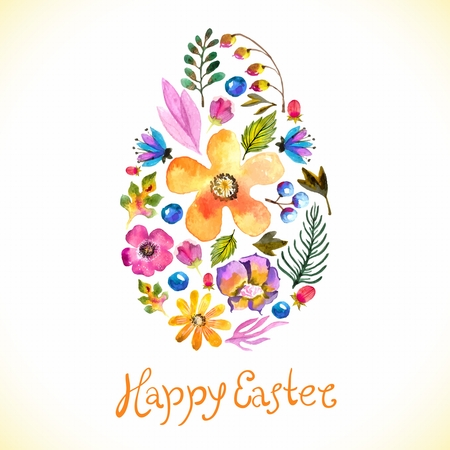 Watercolor Template for greeting card or invitation for Happy Easter with flowers and hand made text