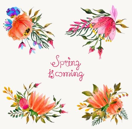 Fleurs Aquarelle fixés. Colorful collection floral avec des feuilles et des fleurs. Printemps ou en été conception pour invitation, de mariage ou de cartes de voeux Banque d'images - 36832007