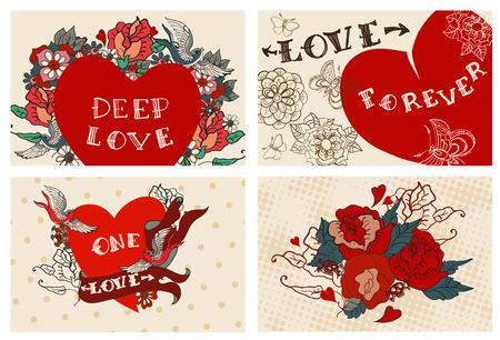 Het verzamelen van kaarten met bloemen voor Valentijn ontwerp, oude school tattoo stijl, VECTOR