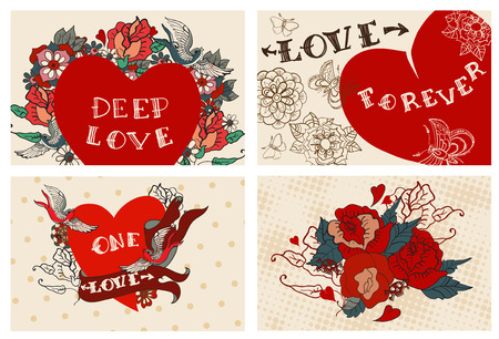 Collection of cards with flowers for Valentine design, old school tattoo style, VECTOR Illustration