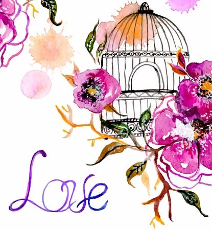 fleur d'aquarelle pour la conception d'invitation de mariage, sauf l'illustration de date ou de la conception de la Saint-Valentin