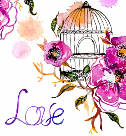 in a cage: Watercolor flower for wedding invitation design, save the date illustration or Valentines day design