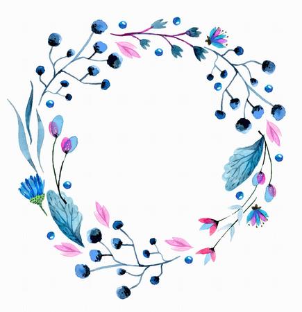 흰색 위에 수채화 꽃 화환