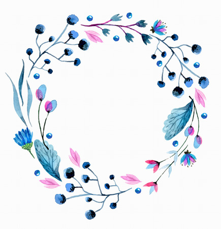 Watercolor flower wreath over white Stock Illustratie