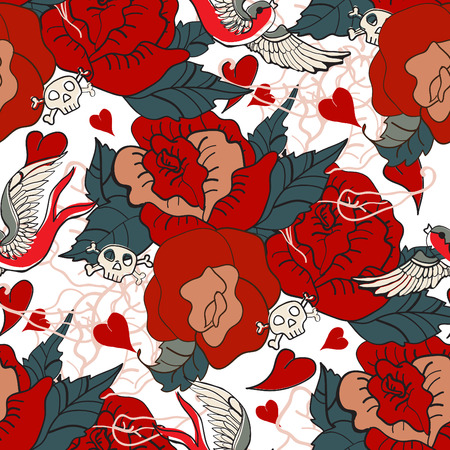 Seamless Vintage pattern with flowers for Valentine design, old school tattoo style, VECTOR Vector