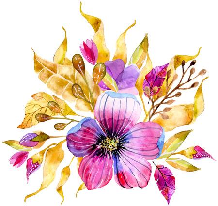 수채화 꽃 청첩장 디자인 프레임 또는 날짜 그림을 저장 스톡 콘텐츠