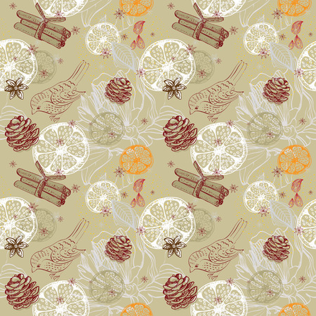 anisetree: Doodle background with citrus, bird and snowflakes, seamless winter pattern Stock Photo
