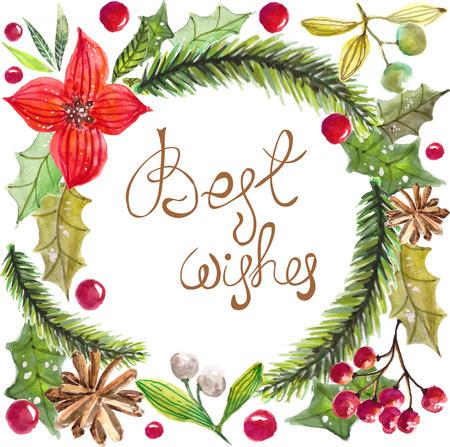 Farbe Aquarell Weihnachten Tanne Zweig mit Dekorationen und Text - die besten Wünsche, natürlichen Hintergrund
