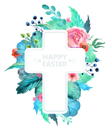 Easter watercolor natural illustration with cross sticker for beautiful Holiday design
