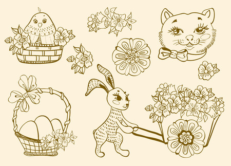 Hand drawn doodle Easter symbols collection. Happy Easter vector background with animals and flowers, Greeting card. Vector